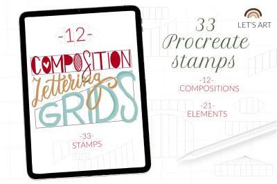 Lettering grids procreate stamps, procreate letter grid, brushes