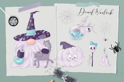 Nordic Gnomes Halloween haracters and clipart elements.