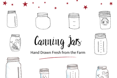 Hand Drawn Canning Jars
