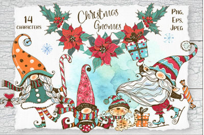 Christmas gnomes watercolor Png Nordic family of gnomes