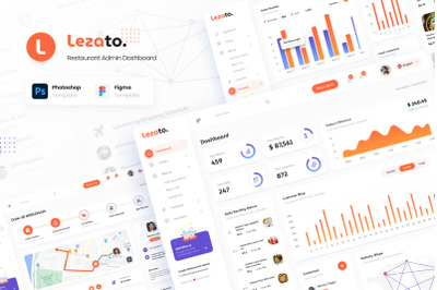 Lezato - Restaurant Admin Dashboard Figma and PSD