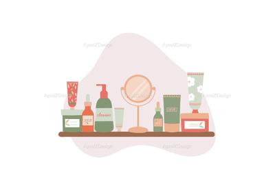 Organic Skincare Products On Bathroom Shelf Illustration