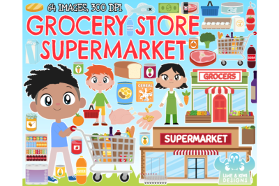 Grocery Store/Supermarket Clipart - Lime and Kiwi Designs