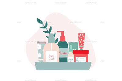 Organic Skincare Products on a Tray Illustration