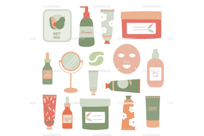 Organic Skincare Products Illustrations