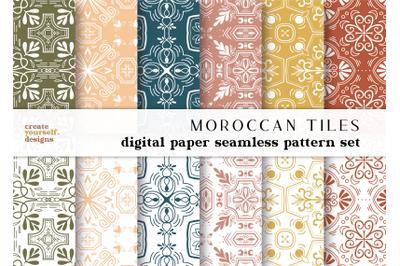 Moroccan digital paper - hand drawn seamless pattern, scrapbook paper