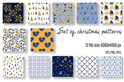 Christmas patterns with doodles