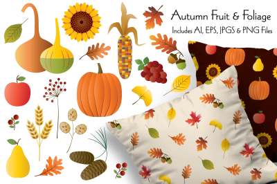 Autumn Fruit & Foliage Illustrations