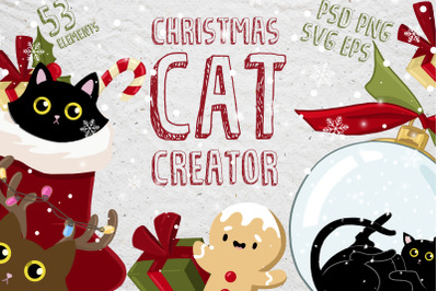 Christmas cat creator - vector collection