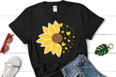 Sunflower SVG, Half Sunflower clipart, Sunflower cut file, Sunflower c