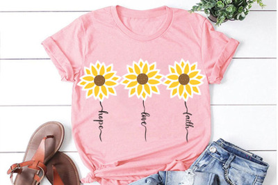 Faith Hope Love Sunflower SVG, Sunflower clipart, Sunflower cut file,