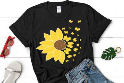 Sunflower Butterfly SVG, Sunflower clipart, Sunflower cut file, Sunflo
