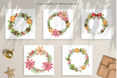 Christmas Watercolor Wreaths png