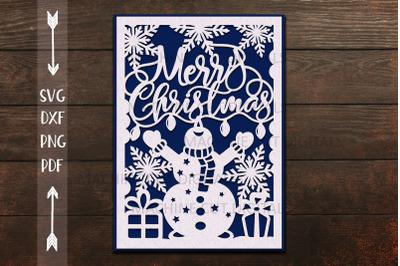 Merry Christmas card papercut svg laser cut cricut template