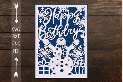 Winter Birthday card papercut svg laser cut cricut template