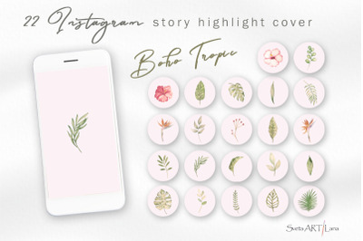Instagram Story Highlight covers Watercolor Boho Tropic