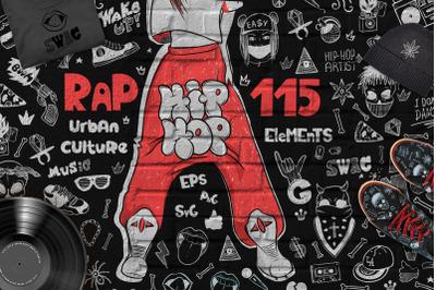 Hip-hop illustrations-music elemets