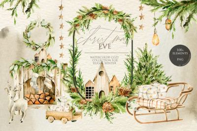 Christmas home holiday. Watercolor clipart