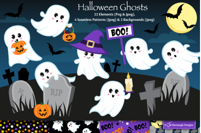 Halloween Ghost clipart, Halloween graphics and illustrations C48