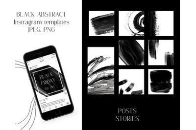 Black Friday instagram templates. Black brush strokes design shapes