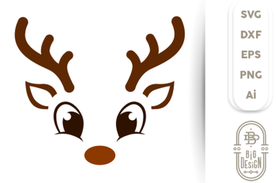Christmas SVG - Cute Reindeer SVG , Boy Reindeer face SVG