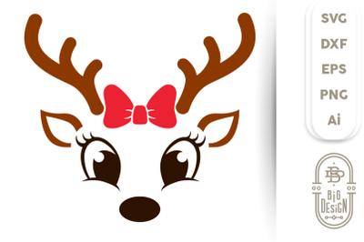 Christmas SVG - Cute Reindeer SVG , Girl Reindeer Face SVG