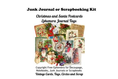 Vintage Christmas Postcards, Tags Journal Add Ons Kit