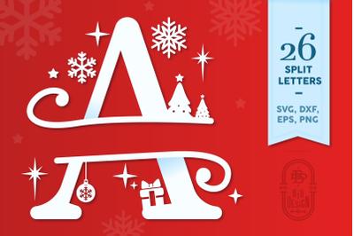 Christmas Split Letters - Christmas Monogram Alphabet