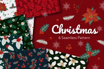Christmas Holly Poinsettia Seamless Pattern
