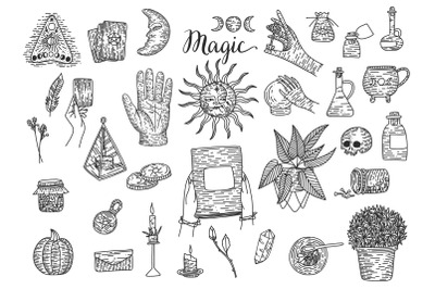 Magic collection. Engraving style
