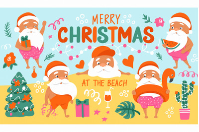 Tropical Christmas. Summer Santa.