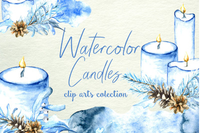 Watercolor Candles clip art collection. 5 composition