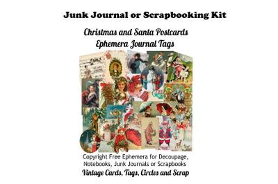 Vintage Christmas Postcards Tags  Journal Kit