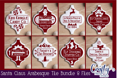 Santa Claus Arabesque Tile Ornament Svg, Christmas Svg