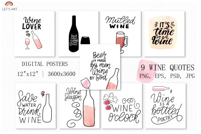 Wine lovers digital posters set, wine watercolor painting clipart
