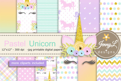 Pastel Unicorn Faces Digital Paper and Clipart