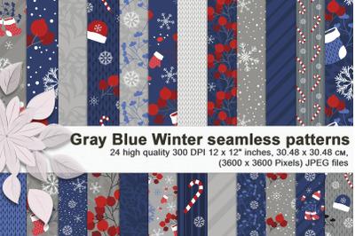 Gray Blue Winter seamless patterns.
