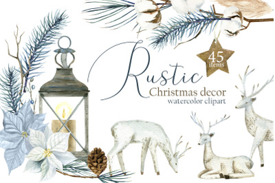 Watercolor Rustic Christmas Clipart