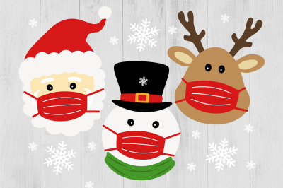 Santa Claus Face Mask, Reindeer and Snowman with Face Mask SVG