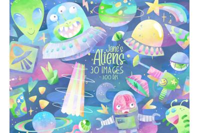 Watercolor Aliens Set