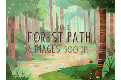 Watercolor Forest Path Set