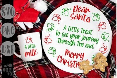Dear Santa, cookies and milk, plate