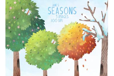 Watercolor Seasons Set