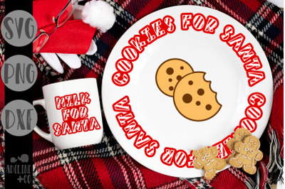 Striped milk and cookies for Santa, Christmas plate