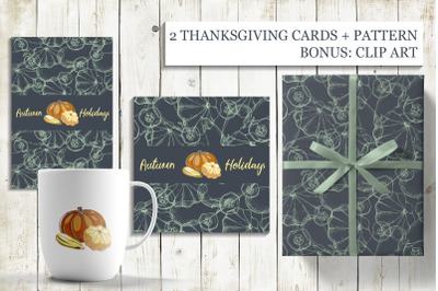2 THANKSGIVING CARDS and PATTERN