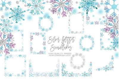 Snowflake Borders Winter snowflakes, Watercolor Silver snow dust