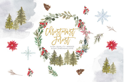 Christmas Wreath Clipart, Hollyhock Watercolor