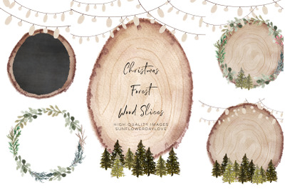 Christmas Forest Clipart, Wood Slice Christmas clipart