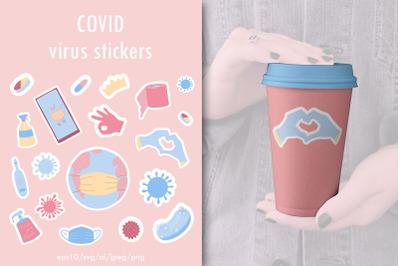 Covid virus stickers. Coronavirus icons