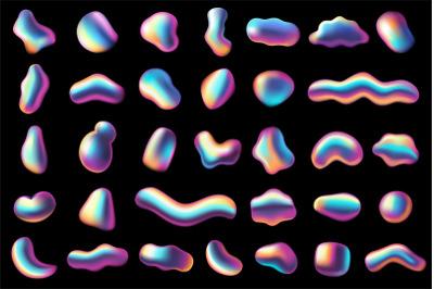 Gradient iridescent shapes. Abstract bright fluid rainbow metallic col